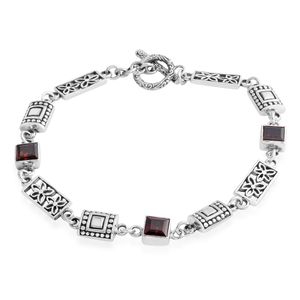 Bali Legacy Collection African Ruby Sterling Silver Bracelet (8.50 In) TGW 4.35 cts.