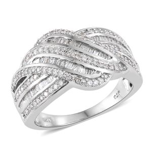 Diamond Platinum Over Sterling Silver Ring (Size 7.0) TDiaWt 1.00 cts, TGW 1.00 cts.