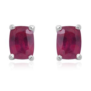 Niassa Ruby Sterling Silver Stud Earrings TGW 2.82 cts.