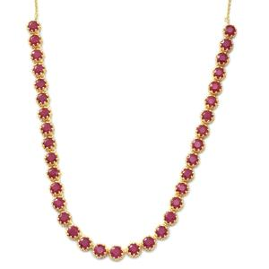 Niassa Ruby 14K YG Over Sterling Silver Princess Necklace (18 in) TGW 35.00 cts.