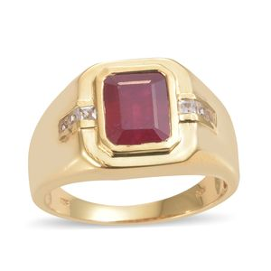 Niassa Ruby, White Topaz Vermeil YG Over Sterling Silver Men's Ring (Size 10.0) TGW 5.65 cts.