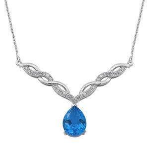Caribbean Quartz, Cambodian White Zircon Sterling Silver Necklace (18 in) TGW 9.89 cts.