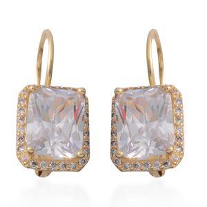 Simulated Diamond Goldtone Lever Back Earrings TGW 6.15 cts.
