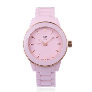 EON 1962 Swiss Movement Water Resistant Watch with Pink Ceramic Strap and Stainless Steel Back