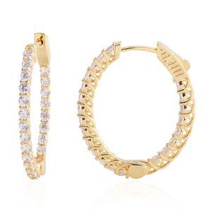 Simulated Diamond Goldtone Hoop Earrings TGW 1.76 cts.