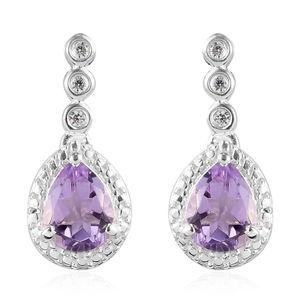 Rose De France Amethyst, Simulated Diamond Sterling Silver Earrings TGW 2.17 cts.