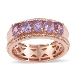 KARIS Collection - Rose De France Amethyst ION Plated 18K RG Brass Ring (Size 7.0) TGW 1.75 cts.