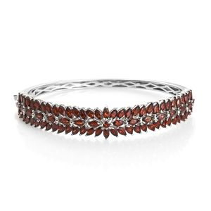 Mozambique Garnet Platinum Over Sterling Silver Bangle (7.25 in) TGW 0.17 cts.
