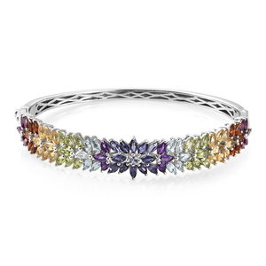 Multi Gemstone Platinum Over Sterling Silver Bangle (8 in) TGW 11.40 cts.