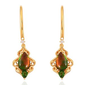 Canadian Ammolite, Multi Gemstone 14K YG Over Sterling Silver Earrings TGW 2.87 cts.