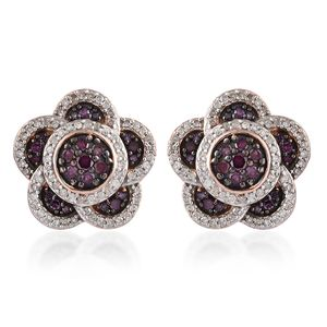Purple Diamond (IR), Diamond Black Rhodium & Vermeil RG Over Sterling Silver Earrings TDiaWt 1.00 cts, TGW 1.00 cts.