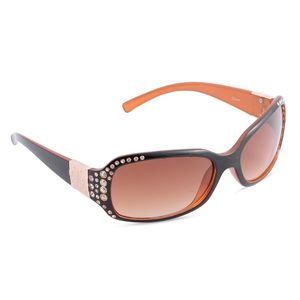 Solar X Eyewear - Brown Rhinestone Sunglasses