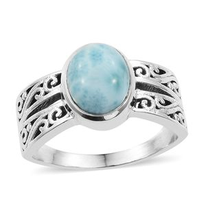 Artisan Crafted Larimar Sterling Silver Ring (Size 7.0) TGW 2.89 cts.
