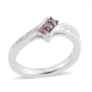 Purple Diamond (IR), Diamond Sterling Silver Bypass Ring (Size 6.5) TDiaWt 0.15 cts, TGW 0.15 cts.
