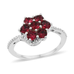 Sterling Silver Floral Ring (Size 7.0) Made with SWAROVSKI Ruby Crystal TGW 1.25 cts.