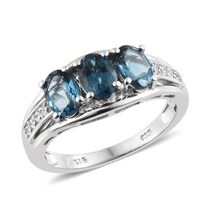 London Blue Topaz, Cambodian Zircon Platinum Over Sterling Silver Ring (Size 5.0) TGW 2.98 cts.