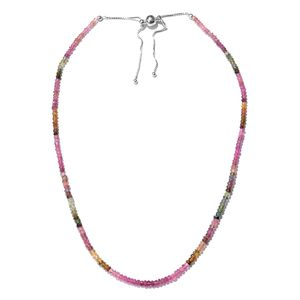 Multi-Tourmaline Beads Platinum Over Sterling Silver Necklace (18 in) With Magnetic Lock TGW 47.70 cts.