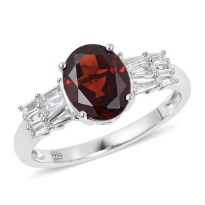 Mozambique Garnet, White Topaz Sterling Silver Ring (Size 7.0) TGW 3.35 cts.