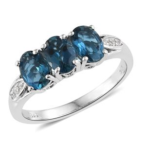 London Blue Topaz, Cambodian Zircon Platinum Over Sterling Silver Ring (Size 5.0) TGW 3.00 cts.