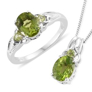 Hebei Peridot Platinum Over Sterling Silver Ring (Size 6) and Pendant With Chain (20 in) TGW 4.36 cts.