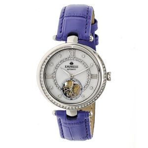 EMPRESS Stella Automatic Watch with Jeweled Stainless Steel Bezel, White Jeweled Dial and Purple Leather Band (TPF Model EMPEM2103)