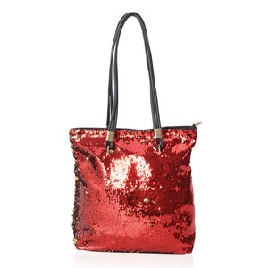 Red and Golden Magic Flip Sequin Faux Leather Tote Bag with Standing Studs  (13x4x14 in 77e944ea55138