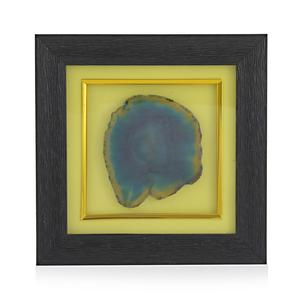 Handcrafted Green Agate Wooden Frame Wall Decor (7.5x7.5 In)