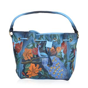 Forest Peacock Hand Painted Hobo Drawstring Bag (18x11.15x5.75 in, Genuine Leather)