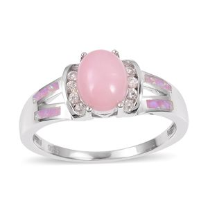 Peruvian Pink Opal, Multi Gemstone Sterling Silver Ring (Size 7.0) TGW 1.98 cts.