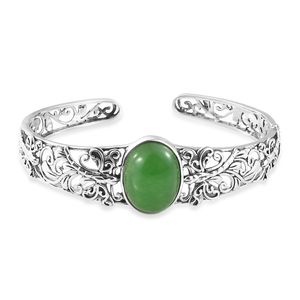 Artisan Crafted Burmse Green Jade Sterling Silver Cuff (6.50 in) TGW 18.24 cts.