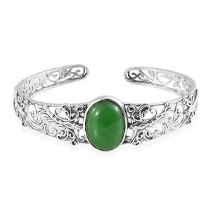 Artisan Crafted Burmse Green Jade Sterling Silver Cuff (7.25 in) TGW 18.24 cts.
