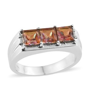 Northern Lights Twilight Topaz Stainless Steel Trilogy Men's Ring (Size 10.0) TGW 4.10 cts.