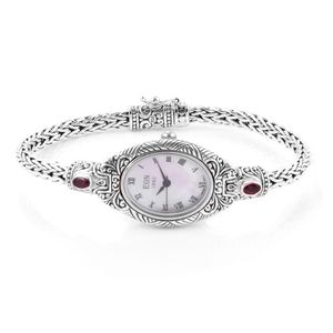 EON 1962 African Ruby Swiss Movement Water Resistant Ladies Bracelet Watch in Sterling Silver TGW 0.85 cts.