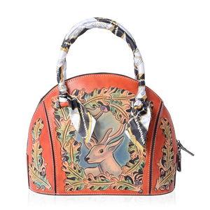 9117d166c1 Luxury - Orange 3D Engraved Deer Pattern Genuine Leather Tote Bag (12x5x9  in)