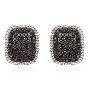 Black Diamond (IR) Black Rhodium and Sterling Silver Omega Clip Earrings TDiaWt 2.50 cts, TGW 2.50 cts.