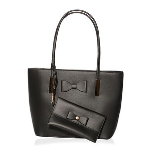 Black Vegan Leather Bow Tote Bag (14x4x10 in) with Matching Wristlet Wallet  (7.5 7d9149a804ea3