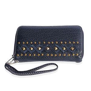 d4e80b89fb P G COLLECTION Black Vegan Leather Southwest Studded Zipper Wallet with  Detachable Wristlet (7.5x1x4.