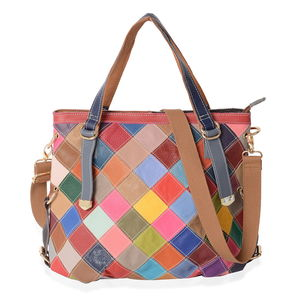 CHAOS BY ELSIE Multi Color Blocking Genuine Leather Shoulder Bag (16x5x12 in)  with Detachable 3350609c9600a