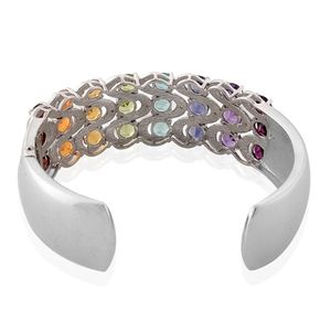 Multi Gemstone, Diamond Platinum Over Sterling Silver Cuff (6.50 in) TDiaWt 0.02 cts, TGW 12.670 cts.