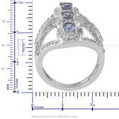 Bondi Blue Tanzanite, White Zircon Platinum Over Sterling Silver Ring (Size 8.0) TGW 3.47 cts.