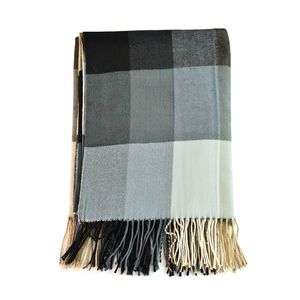 Super Cozy and Warm Classic Gray Plaid Cashmere-Like 100% Polyester Throw (51x63 in)